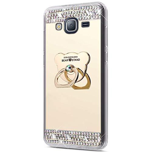 Funda Compatible Samsung Galaxy J3 2016.KunyFond Carcasa Bear Anillo Soporte Movil Purpurina Brillantes Diamante Bling Colorido Dibujo Espejo Mirror Flexible Cubierta Silicona TPU Resisten Bumper-Oro