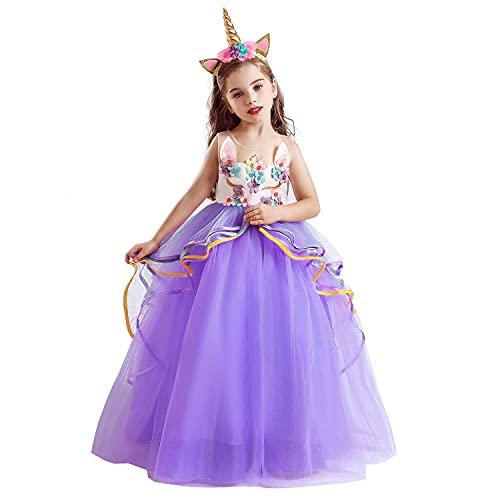 NNJXD Costume Operato da Halloween per Cosplay di Unicorno da Ragazza Taglia (150) 9-10 Anni 700 Viola-A