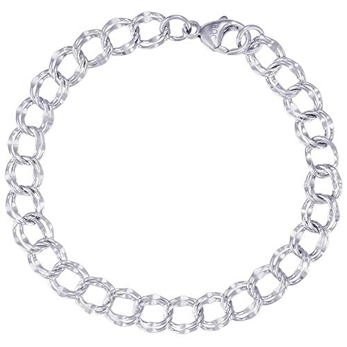 """Rembrandt Charms, 7"""" Large Double Link Dapped Curb Classic Charm Bracelet, .925 Sterling Silver"""