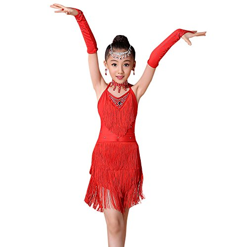 Mysky Toddler Kids Girls Popular Lovely Pure Tassel Latin Ballet Dress+Necklace+Cuff Party Ballroom Dance Costumes Red