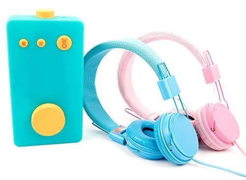 DURAGADGET Pack 2 x Casques Audio Enfant Compatible avec Lunii, ma Fabrique à Histoires - Bleu et Rose - Repliable...