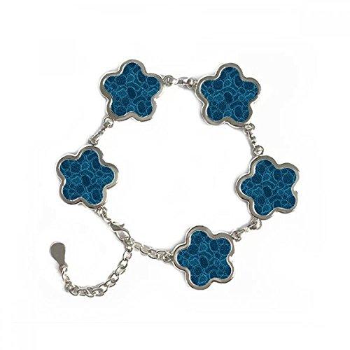 DIYthinker Azul microscopio de células Estructura ilustración biológica Forma de la Flor de la Pulsera de Metal Regalos de la Cadena de joyería con la decoración de la Cadena