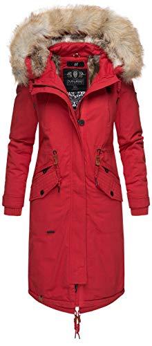Navahoo Premium Damen Winter Jacke Parka Mantel Winterjacke warm Kunstfell B665 [B665-Kin-Rot-Gr.XS]