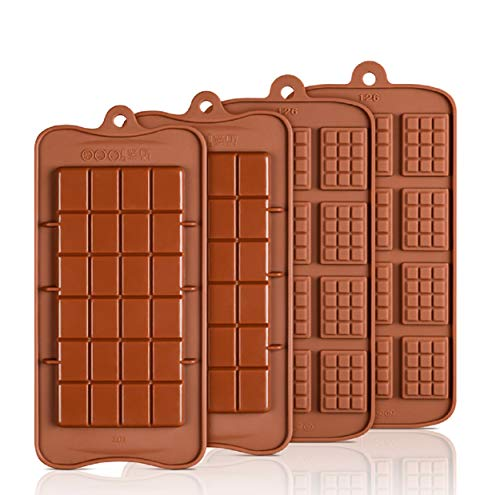 Allinlove 4 Pcs Waffle Chocolate Moulds Silicone Candy Molds, Break Apart Non-Stick Chocolate Mold, Reusable DIY Baking Molds Candy Protein & Energy Bar Molds, Brown Kitchen Mold, 2 Designs