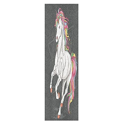 Lindo Arte Unicornio Arcoiris Caballo Monopatín Papel de Lija Antideslizante Hoja Cinta de Agarre Lijas para Patineta Scooter Etiquetas engomadas (84 x 23 cm)
