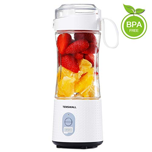 TENSWALL Portable Blender, Personal Size Blenders Smoothies and Shakes, Handheld Fruit Mixer Machine 13oz USB Rchargeable Juicer Cup, Ice Blender Mixer Home/Office/Sports/Travel/Outdoors-White