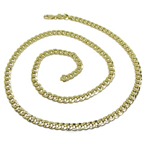 Never Say Never Collana da uomo in oro giallo 18 carati, tipo barbazzale, 5 mm di larghezza e 60 cm di lunghezza, con chiusura a moschettone