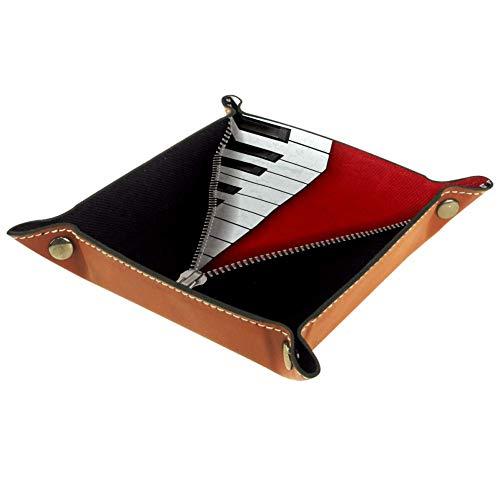 Resumen Música Piano Nota Cremallera Monedero con Cambio de Llave Caja de Almacenamiento de Cuero Catchall Organizador de Escritorio pequeño Bandeja de Valet