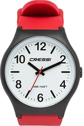 Cressi Watch Echo Reloj Analógico de Cuarzo, Unisex Adulto, Negro/Blanco/Rojo, Uni