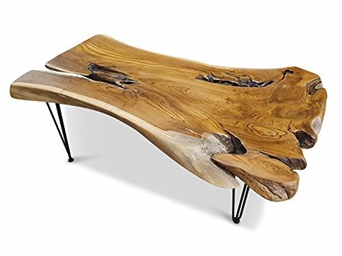 Hanuman - Tavolino da salotto in legno di radice, 120-130 x 50-70 cm, in legno massiccio di teak in stile rustico rustico, per il soggiorno o anche per il giardino d'inverno o come tavolino da caffè