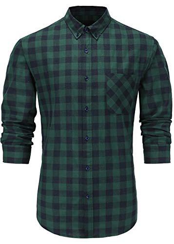 GoldCut Men's 100% Cotton Slim Fit Long Sleeve Button Down Plaid Dress Shirt Small Blue Black XL Green Navy