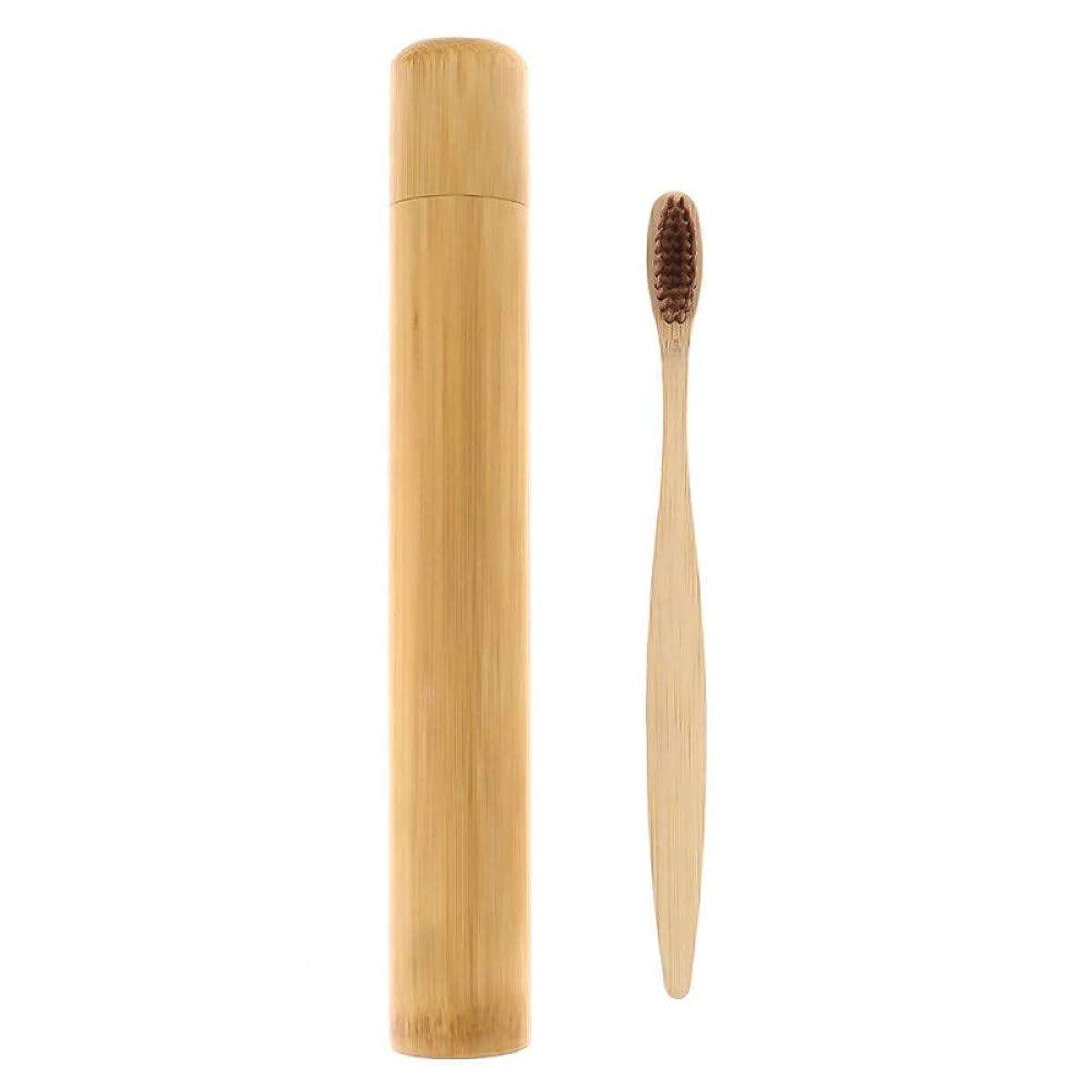 竹の歯ブラシフレンドリーな柔らかい毛竹繊維木製ハンドル竹歯ブラシチューブポータブルオーラルケアセット、