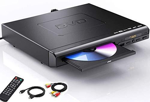 Reproductor de DVD para TV, HD, reproductor de DVD con cable HDMI y AV para proyector 1080P Full HD reproductor de CD para vídeo y medios CD-All Region Free-PAL/NTSC compatible con USB