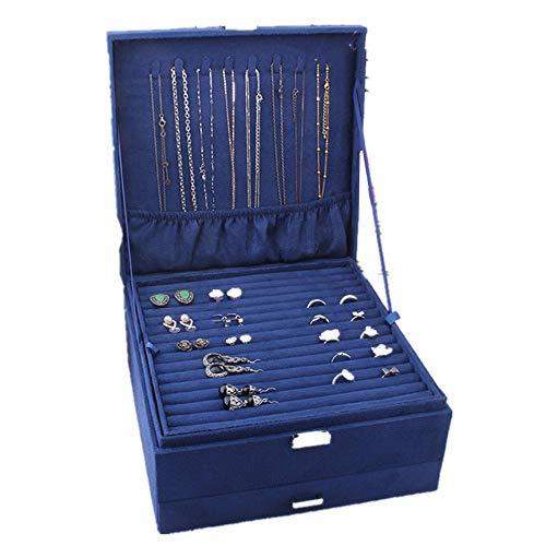 Elegante caja de joyería para guardar joyas en el pecho, soporte para anillos, organizador de joyas, soporte para aretes, charola para anillos, pendientes, collares, viajes, niñas, madres y mujeres