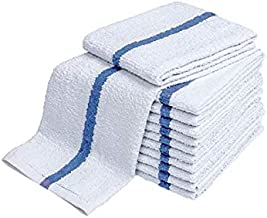 28oz Bar Mop Towels 16x19, 100% Cotton, Commercial Grade Professional Kitchen/Restaurant BarMop Towels (Blue Stripe-24 Pack)