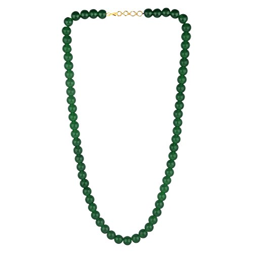 Efulgenz Handcrafted Green Crystal/ Glass Stone Classic Round Beaded Strand Necklace Fashion Accessories for Women and Girls