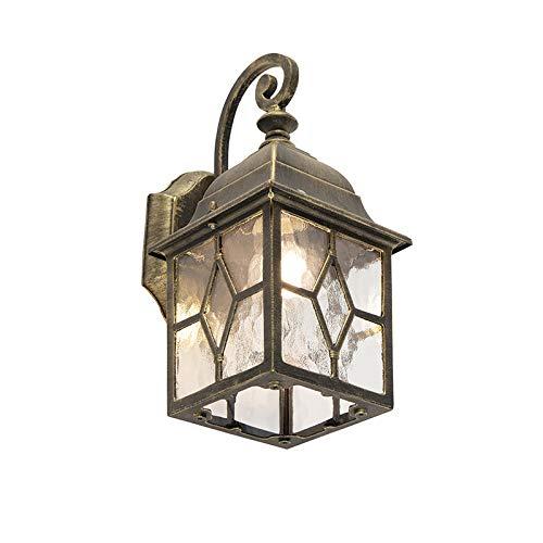QAZQA Klassisch/Antik/Landhaus/Vintage/Rustikal Romantische Außen Wandleuchte Bronze - London/Außenbeleuchtung Aluminium/Glas Würfel/Quadratisch LED geeignet E27 Max. 1 x 60 Watt