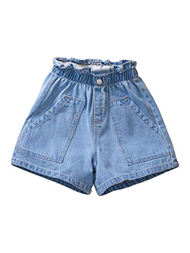 Milumia Girl's Casual Elastic Paperbag Waist Denim Shorts Jeans with Front Pockets Blue 10 Years