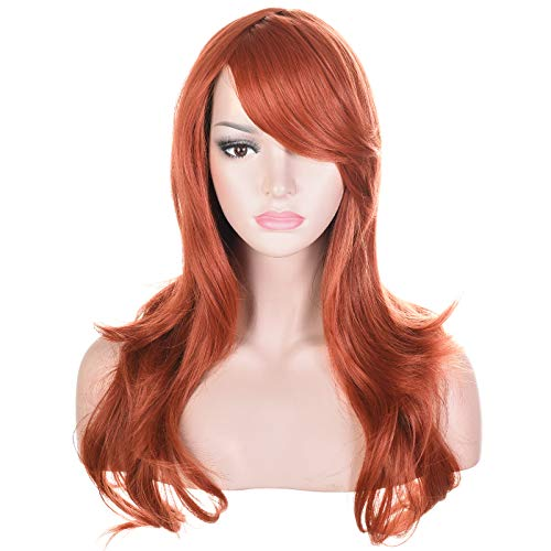 """Morvally 23"""" Long Wig Big Wavy Heat Resistant Synthetic Straight Hair with Bangs for Cosplay Costume Halloween Party (Auburn)"""