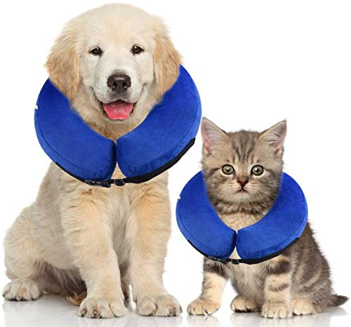 Dog Cones for Medium Dogs, Dog Cone Collar Soft Cone Recovery Collar Cone for Dogs Inflatable Protective After Surgery Dog Neck Pillow