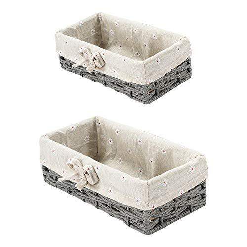 XYDZ 2PCS Cesta de Mimbred Almacenamiento de Natural Jacinto de Agua Caja Organizadora Decorativo con Forro Lavable Extraíble Sauce Tejido Ideal para Baño Cocina del Hogar Contenedores - Gris