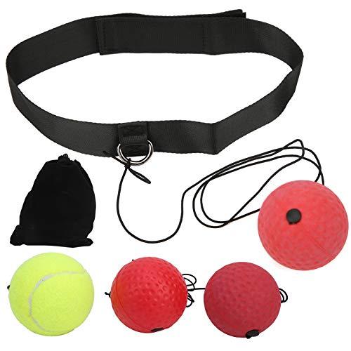 Keenso 3Pcs/Set Boxing Reflex Ball, Solid Boxing Speed Ball Boxing Reaction Ball Head‑Mounted Bounce Training Ball