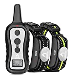 Dog training collar with 2 receivers 3 training modes Fit for 15 to 100 lbs dogs Up to 1000 ft remote Not rechargeable