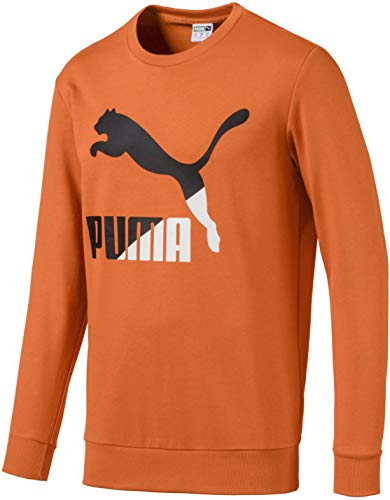 PUMA Classics Logo Crewneck Sweatshirt Sudadera, Ft Jaffa Naranja, M para Hombre