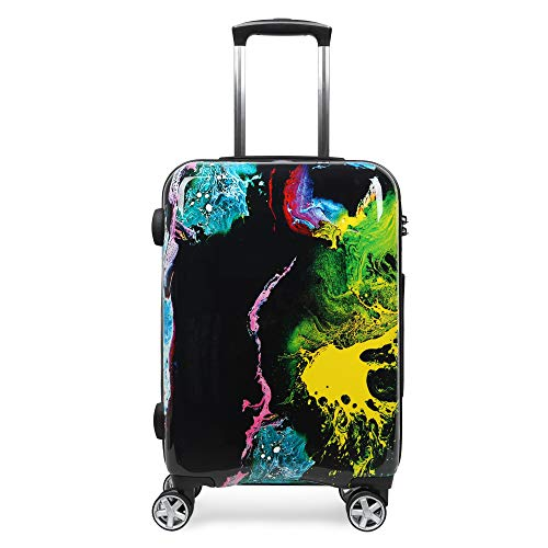 Pattern Luggage Medium Hard shell Suitcase Paint Graffiti with Build-In TSA Lock and Spinner Wheels for Hip Pop Teenager, Ink Splash, 24 Inch