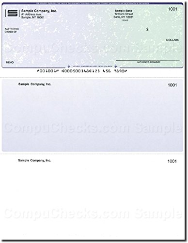 500 Computer Checks on Top - Printed - Compatible for QuickBooks - Blue-Green