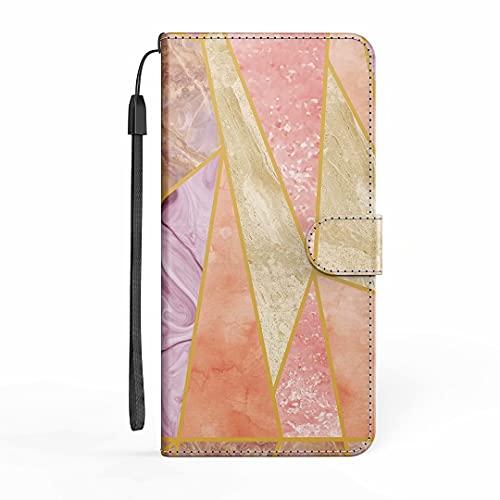Funda para iPhone 12/iPhone 12 Pro, funda para teléfono iPhone 12/iPhone 12 Pro Mármol, a prueba de golpes, funda tipo libro con soporte para tarjetas, protector de silicona, color rosa y blanco