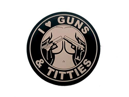 I ♥ Guns & Titties Sand PVC Airsoft Paintball Klett Emblem Abzeichen Patch