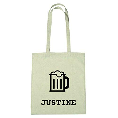 JOllify Baumwolltasche - Happy Birthday für JUSTINE - Bier Gruß