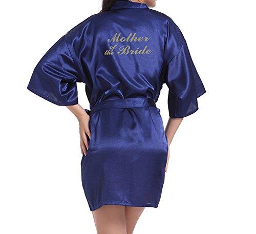 WPFING - Bata corta de raso para novias y damas de honor, bata para despedida de soltera personalizable con lema en purpurina Madre de la novia azul marino XL