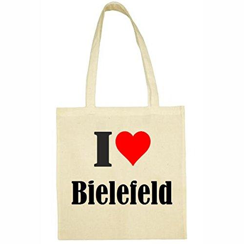 Tasche I Love Bielefeld Größe 38x42 Farbe Natur Druck Schwarz