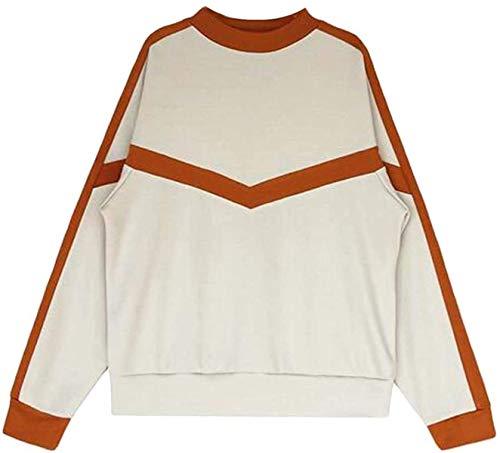 Skxusidhus Women Outerwear Loose Crew Neck Sweatshirt Long Sleeve Contrast Pullover Tops
