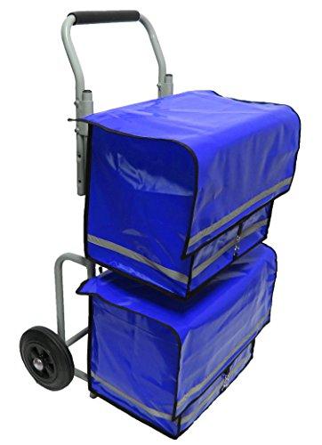 Zeitungsroller Zeitungswagen Prospektwagen Strong zum Austragen von Zeitungen und Zeitschriften mit Zwei Taschen Porty in blau, Zustellerbedarf