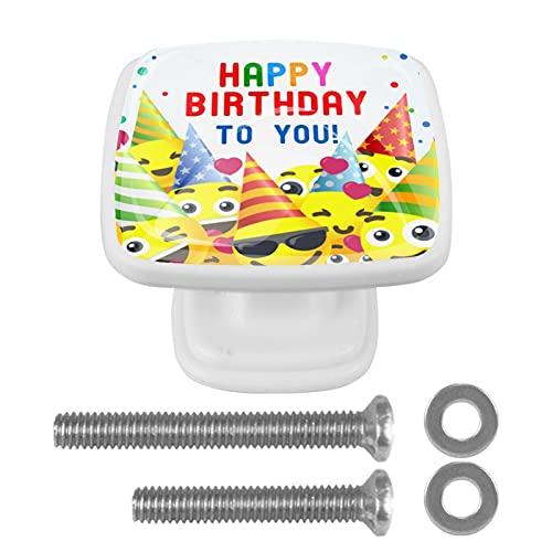 4 Pieces Cabinet Knobs,Dresser Knobs Kitchen Drawer Knobs Happy birthda ykids Party Handle Crystal Glass