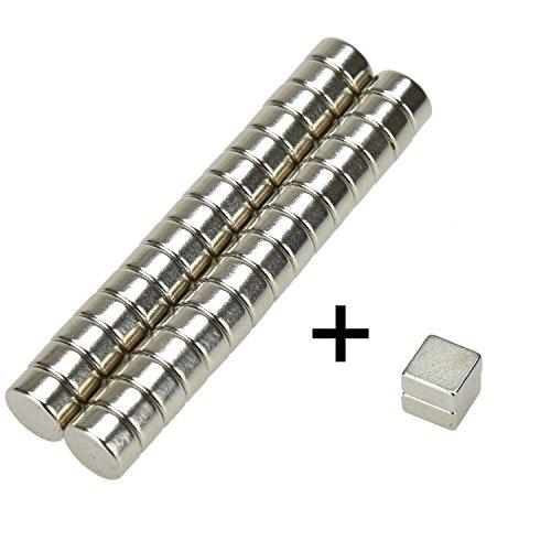 eLander- 32 Mini Magnete, ultrastark - 6x3mm(30 Stücks -Zylinder) + 6x6x3mm(2 Stücks - Würfel) - NEODYM - Das Original