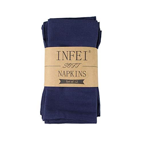 INFEI - Servilletas de lino y algodón, juego de 12 unidades, 40 x 40cm, poliéster Poliéster. 80 % algodón. Lino algodón, azul marino, 40 x 40 cm