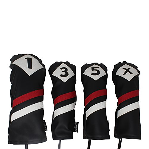 Majek Retro Golf Headcovers Black Red and White Vintage Leather Style 1 3 5 X Driver and Fairway Head Covers Fits 460cc Drivers Classic Look
