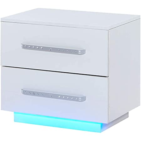 nozama LED High Gloss Nightstand Modern Bedside Nightstand Storage Table with 2 Drawers LED Bedside Cabinet Chest High Gloss LED Bedside End Cabinet Living Room High Gloss Side Table (White)