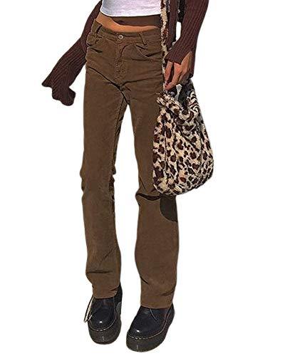 Calça feminina de veludo cotelê de cintura alta estilo vintage Y2K calça reta casual hipster streetwear, B - Marrom, M