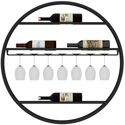 Botellero rústico apilable, Estante del vino del hierro labrado del hogar Material de Ronda de vino tinto Copa sostenedor creativo del estante montado en la pared del vino estante de la pared soporte