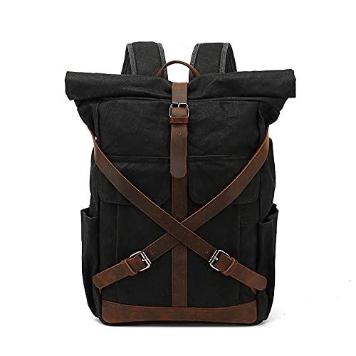 GDYJP Zaino in Tela Cerata Vintage Impermeabile, Zaini da Uomo Zaini per Il Tempo Libero Zaino da Viaggio Borse da Viaggio per Laptop bagpack Spalla bookbags (Color : Black)