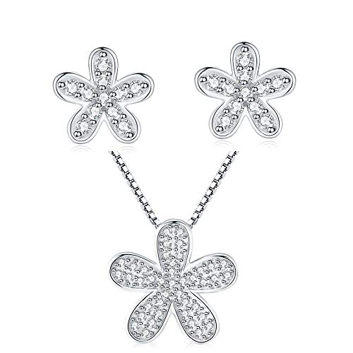 PRETTERY Sterling Silver Jewellery Sets for Women, Round Clear Cubic Zirconia White Gold Plated Hypoallergenic Daisy Flower Pendant, Studs Earrings, Valentine's Gift for Her