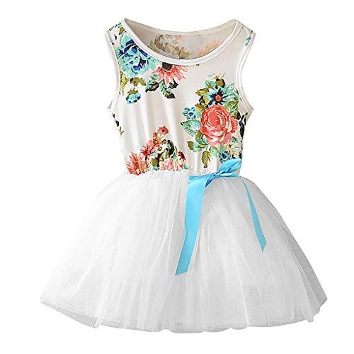 Julhold Kleinkind Kind Baby Mädchen Süß Freizeit Blumen Ärmellos Bogen Shag Rock Baumwollkleid Outfits Set Sommer 0-5 Jahre