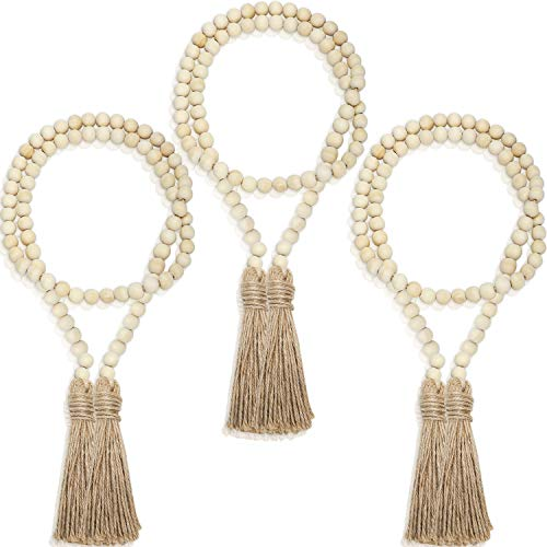 3 Pieces Wood Bead Garlands Rustic Bead Garlands Wooden Garland Beads with Tassels 3.7 Feet Farmhouse Bead Tassel Hanging Garland for Valentine's Day Wedding Home Decoration
