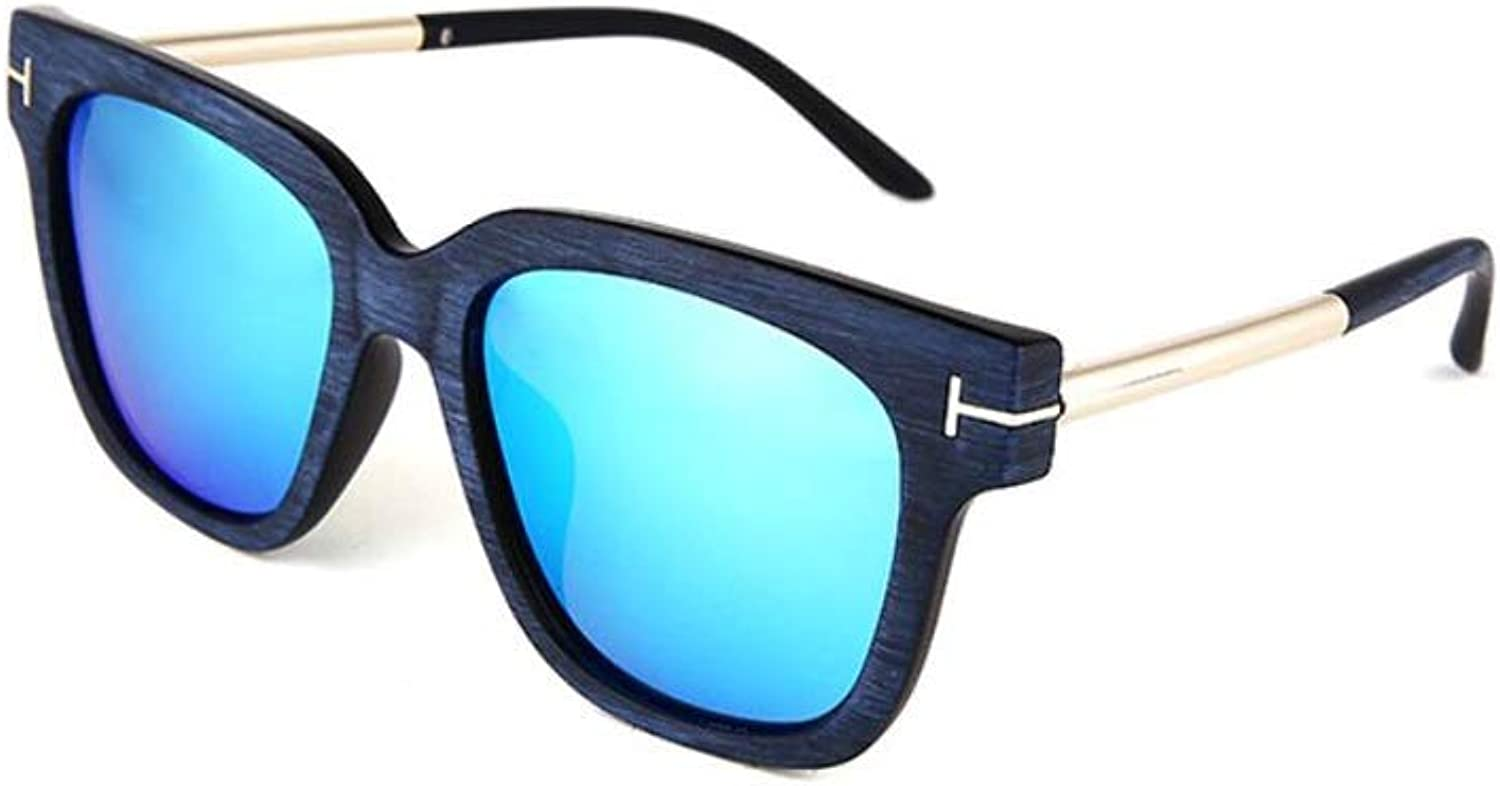 HongTeng Sunglasses for Men and Women Imitation Wood Grain Reflective Mercury Eye Predection colorful Driving Travel Leisure Sports (color   bluee)