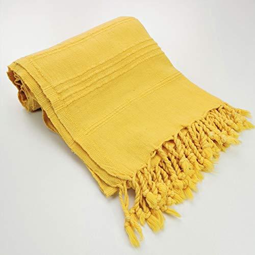 Majordôme - Toalla de playa con bolsa de regalo (algodón suave, efecto vintage lavado, lavada con piedras), color amarillo
